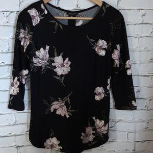 Black Floral Tunic Zipper Back